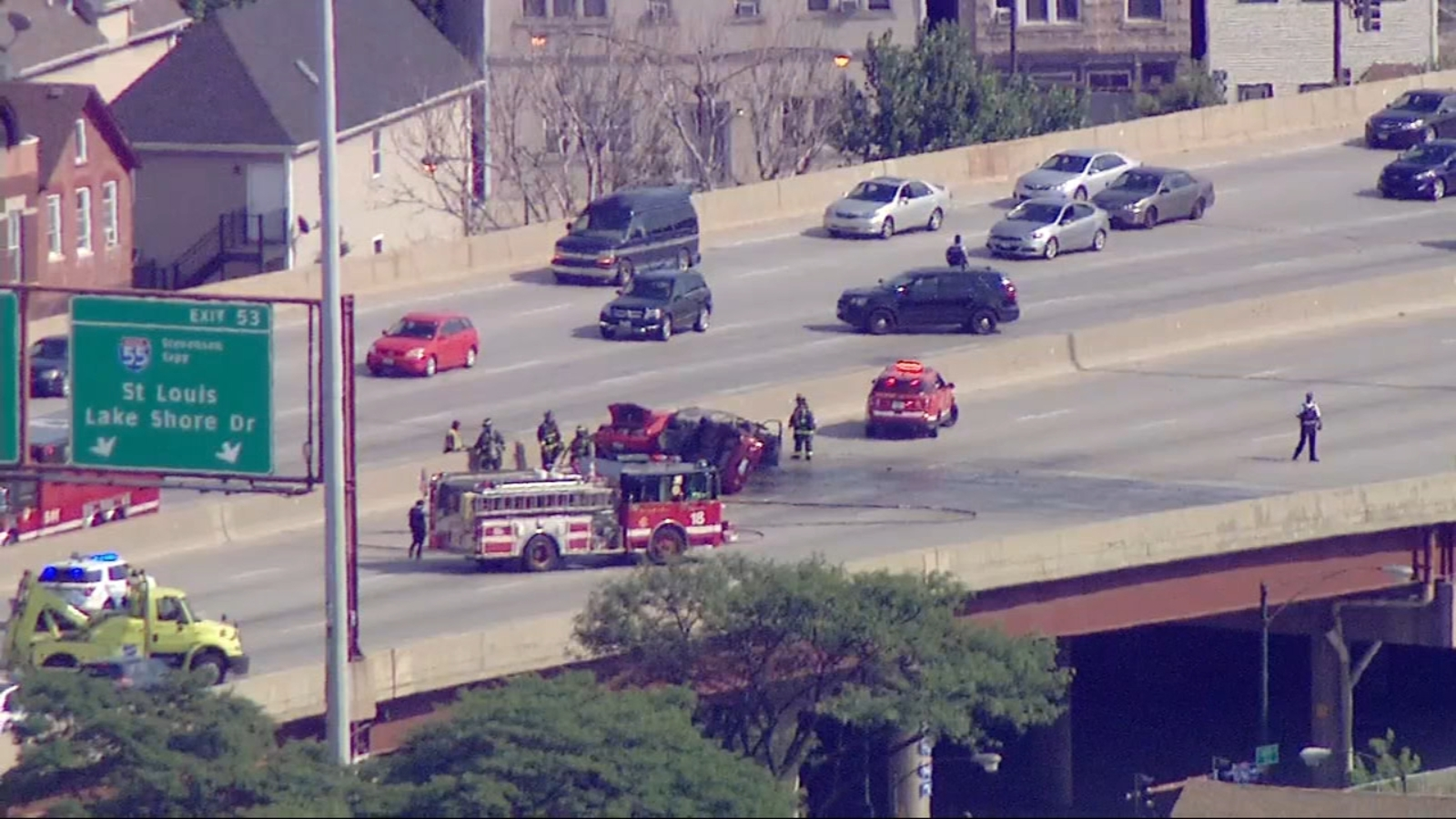 Outbound Dan Ryan Expressway reopens at exit for Stevenson Expressway after crash, vehicle fire