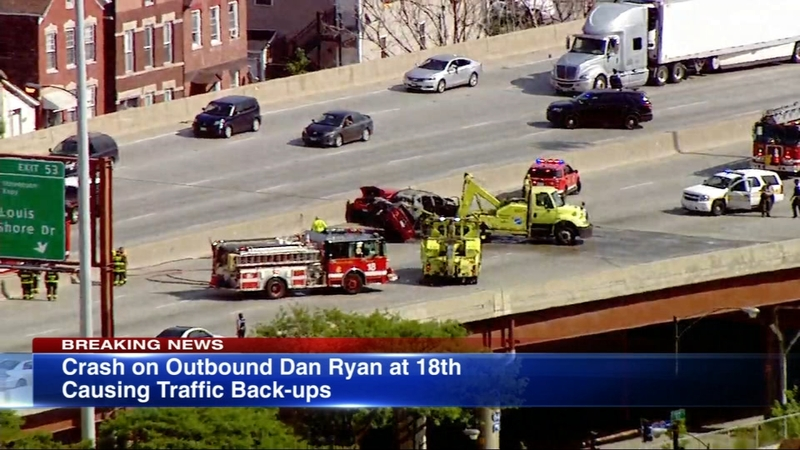 OB Dan Ryan reopens at exit for Stevenson Expy after crash, vehicle fire