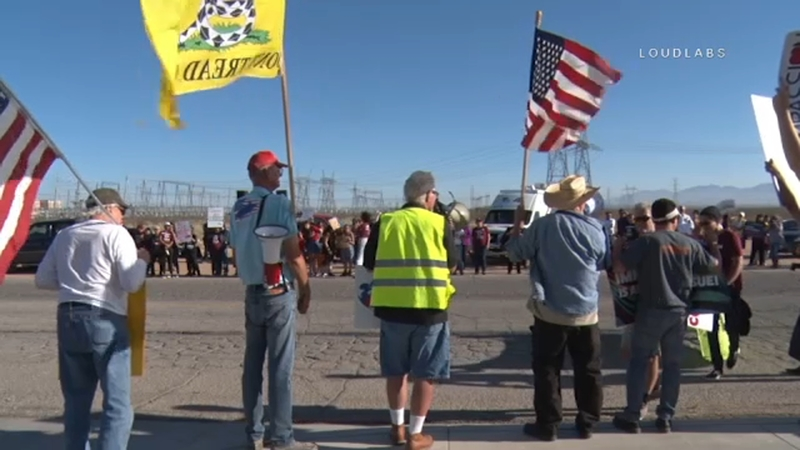 Demonstrators protest at Adelanto ICE Processing Center