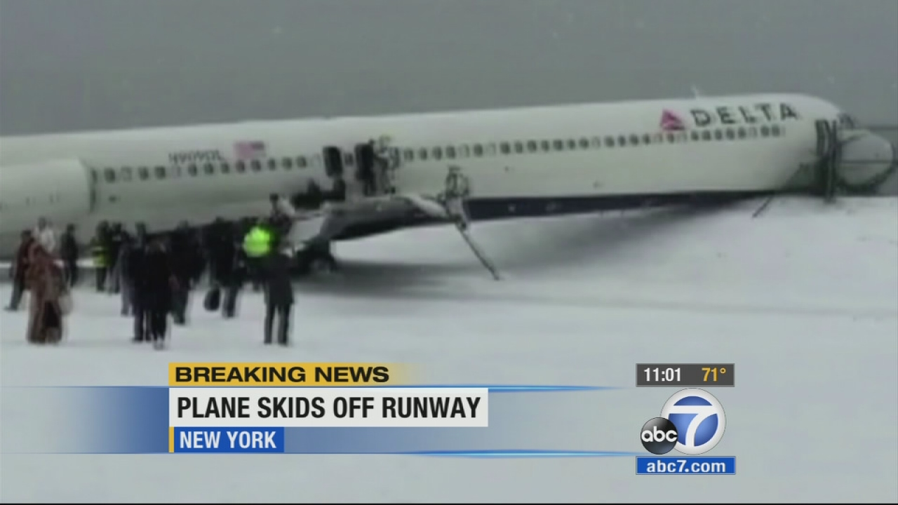 Plane Skids Off Runway At Laguardia Airport Crashes Into