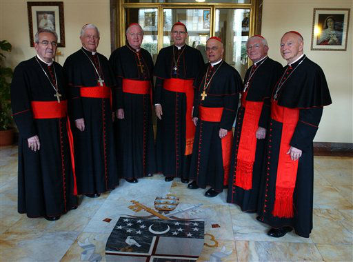 """<div class=""""meta image-caption""""><div class=""""origin-logo origin-image none""""><span>none</span></div><span class=""""caption-text"""">US Cardinals pose at the North American College in Rome, Sunday, April 17, 2005, before being sequestered for the papal enclave</span></div>"""