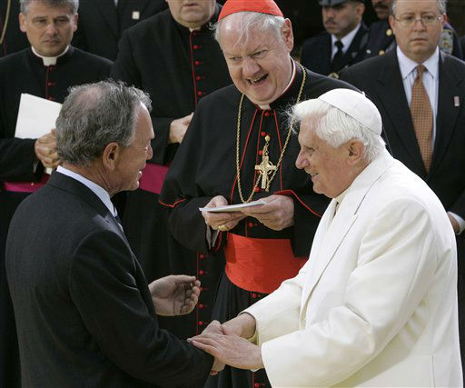 """<div class=""""meta image-caption""""><div class=""""origin-logo origin-image none""""><span>none</span></div><span class=""""caption-text"""">Pope Benedict XVI, with New York Cardinal Edward Egan, is greeted by Mayor Michael Bloomberg in 2008 (AP Photo/ Pier Paolo Cito)</span></div>"""