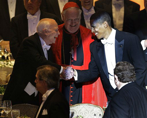 """<div class=""""meta image-caption""""><div class=""""origin-logo origin-image none""""><span>none</span></div><span class=""""caption-text"""">Presidential candidates John McCain and Barack Obama hands as they arrive at the Alfred E. Smith Dinner. Egan is at center (AP Photo/ Carolyn Kaster)</span></div>"""