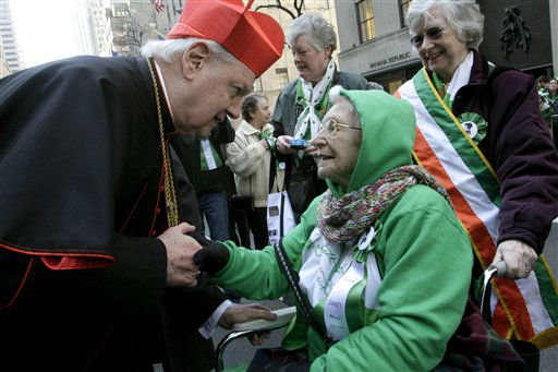 """<div class=""""meta image-caption""""><div class=""""origin-logo origin-image none""""><span>none</span></div><span class=""""caption-text"""">Cardinal Edward Egan shares a moment with Sister Florence Simpson, 93, as she pauses in front of St. Patrick's Cathedral in 2009 (AP Photo/ Tina Fineberg)</span></div>"""
