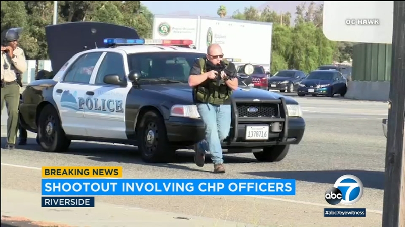 CHP officer and suspect killed, 2 officers wounded in Riverside gun battle