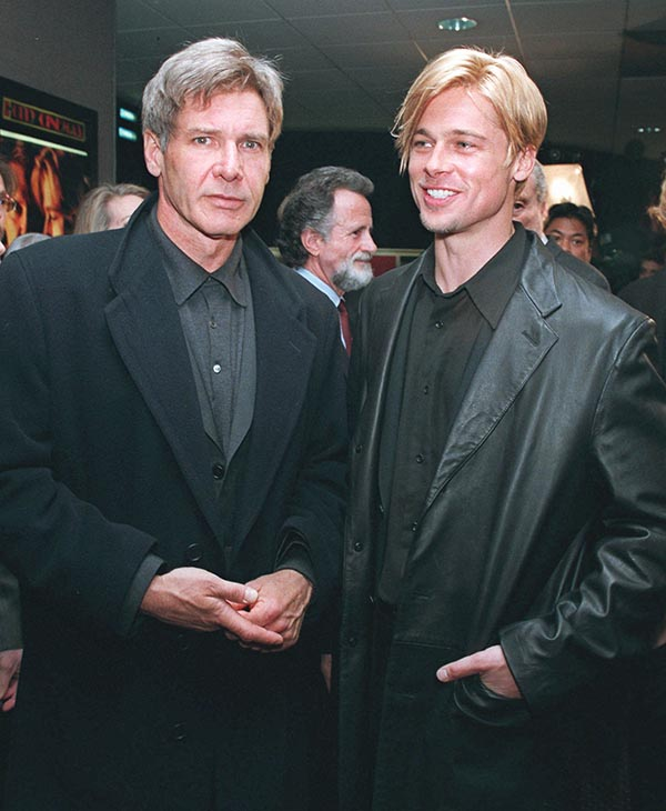 "<div class=""meta image-caption""><div class=""origin-logo origin-image ap""><span>AP</span></div><span class=""caption-text"">Actors Harrison Ford, left, and Brad Pitt arrive for the world premiere of their movie, ""The Devil's Own,"" Thursday, March 13, 1997, in New York.</span></div>"
