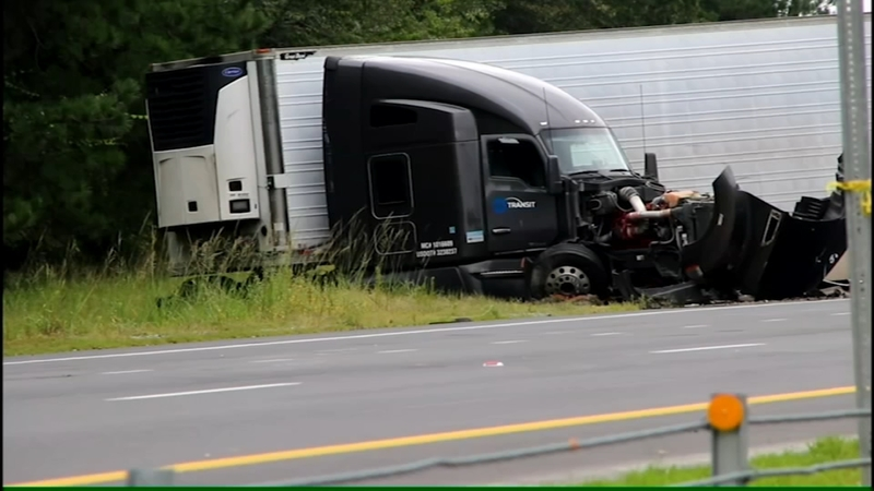 Car crossed median and crashed into tractor-trailer, killing one on I-40 in  Johnston County