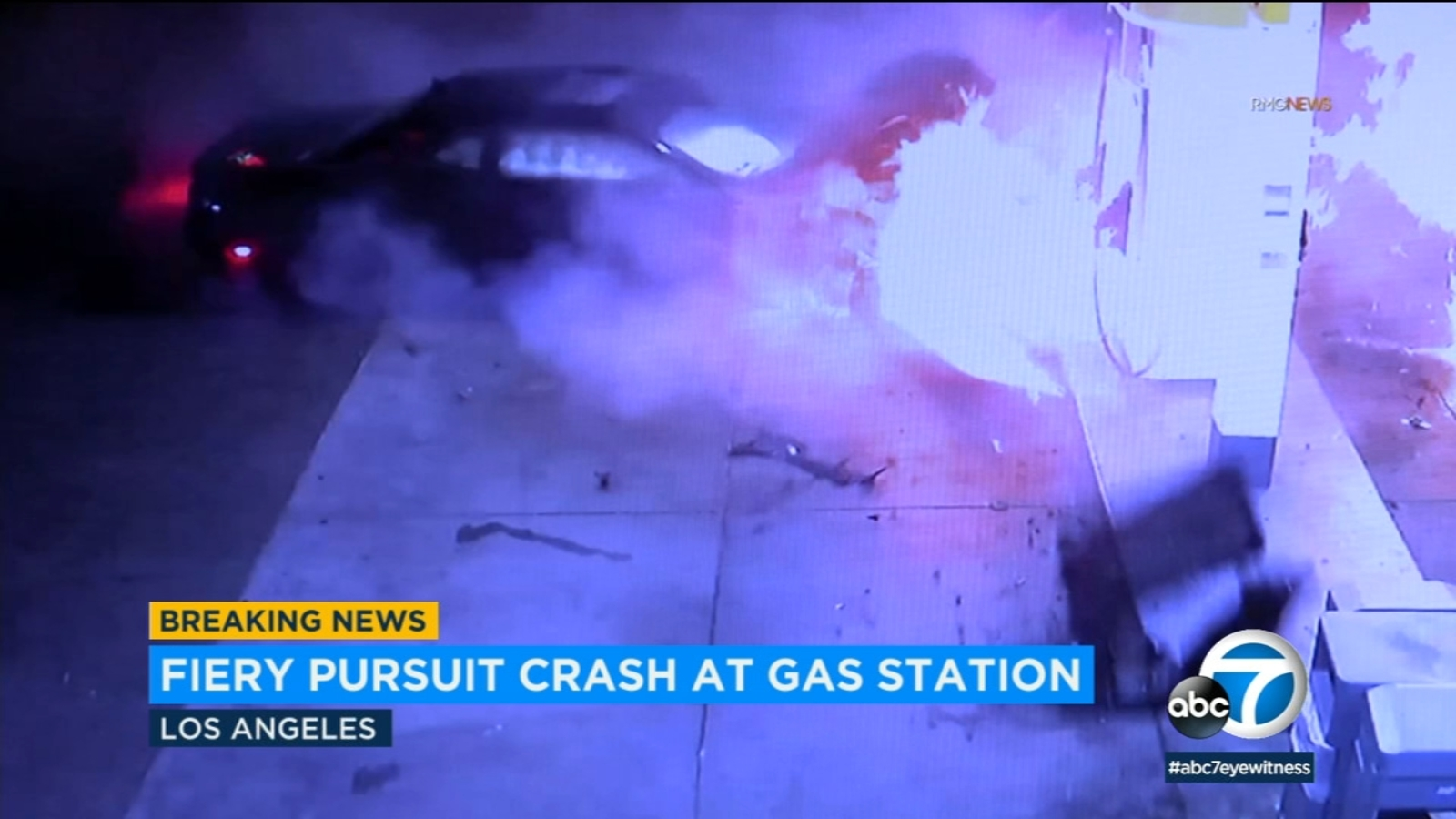 VIDEO: High-speed chase ends in fiery crash at Palms gas station