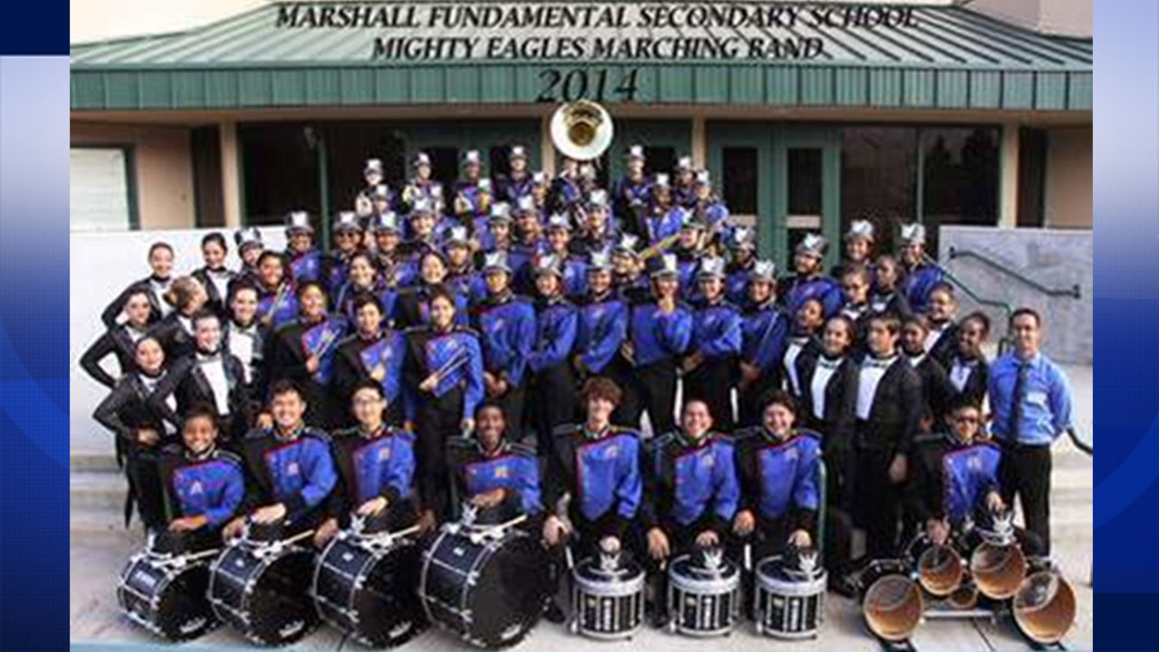 The Marshall Fundamental Secondary School Mighty Eagles Marching Band is seen in this 2014 file photo.