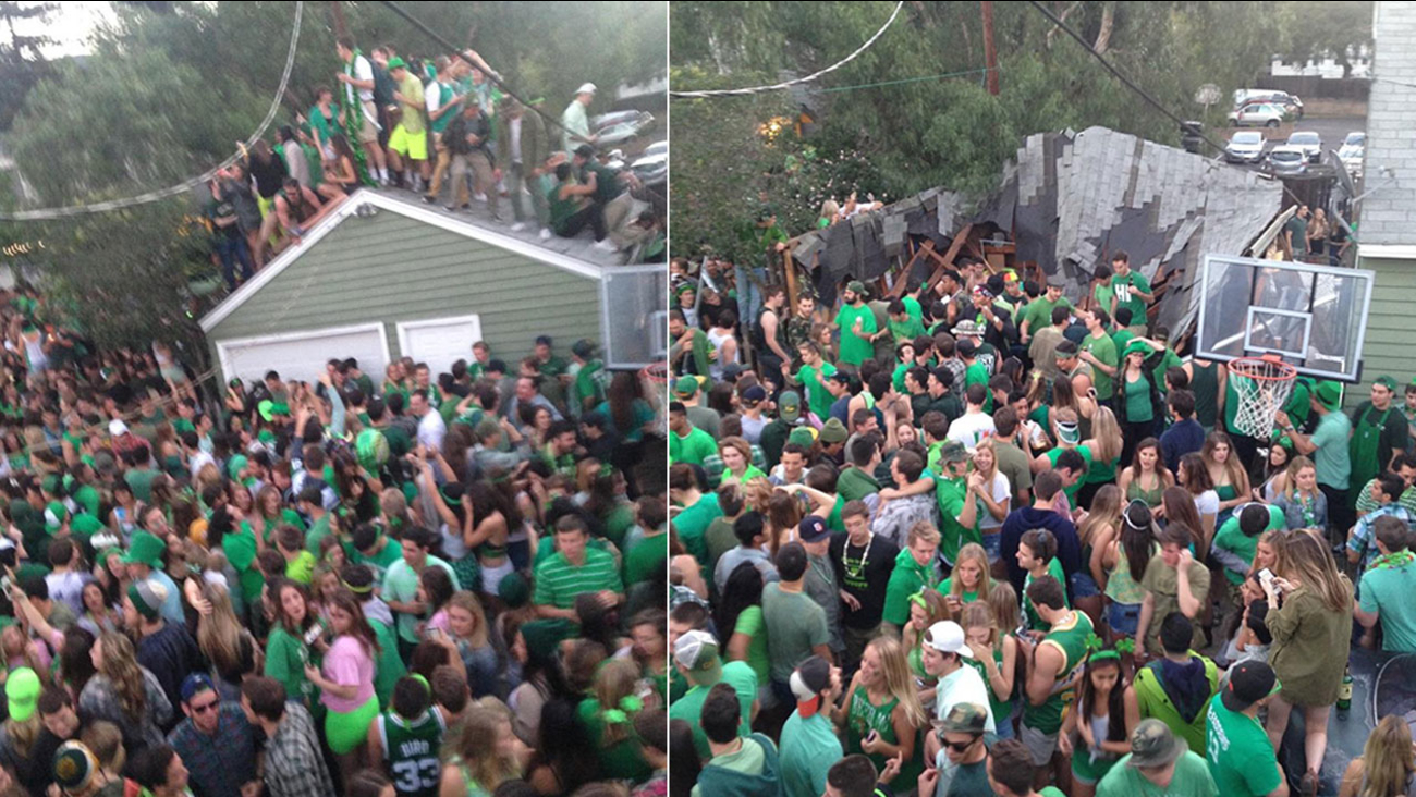 A roof collapsed during a pre-St. Patrick's Day block party in the 300 block of Hathway Avenue in San Luis Obispo Saturday, March 7, 2015.