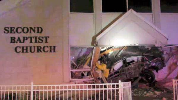 "<div class=""meta image-caption""><div class=""origin-logo origin-image none""><span>none</span></div><span class=""caption-text"">A car slammed into the Second Baptist Church early Sunday morning in Baldwin, Long Island.</span></div>"