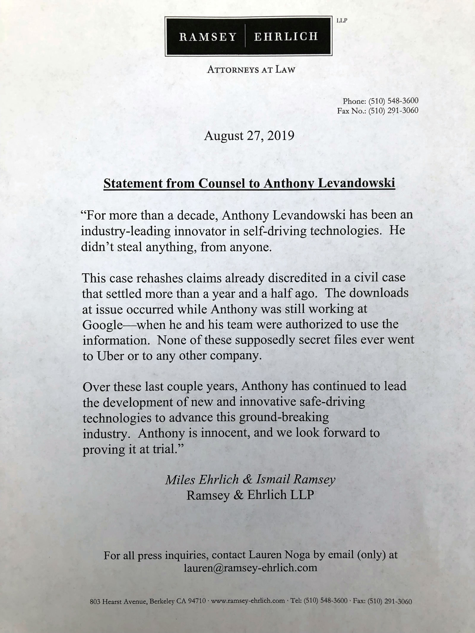 A statement from the attorney for to Anthony Levandowski was released on Tuesday, Aut. 27, 2019.