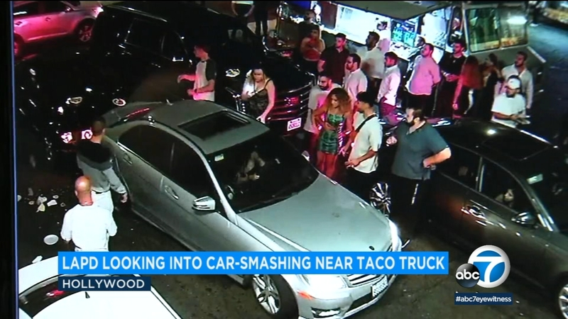 Video: Woman intentionally smashes into car at Hollywood taco truck