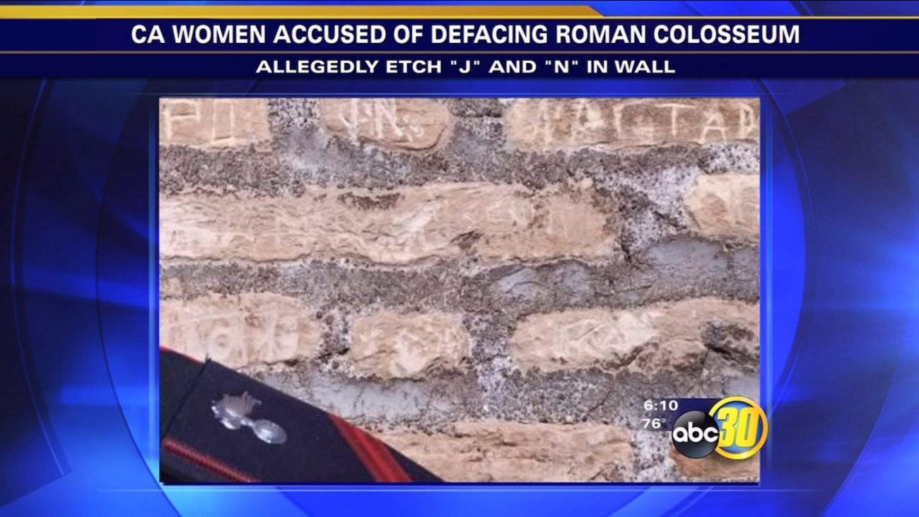 California tourists accused of carving initials into Rome's Colosseum