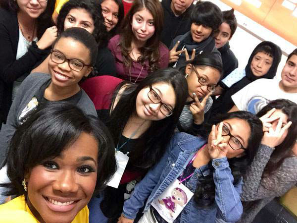 """<div class=""""meta image-caption""""><div class=""""origin-logo origin-image none""""><span>none</span></div><span class=""""caption-text"""">Samica Knight visiting with some students on Career Day at Klein Intermediate (KTRK Photo)</span></div>"""