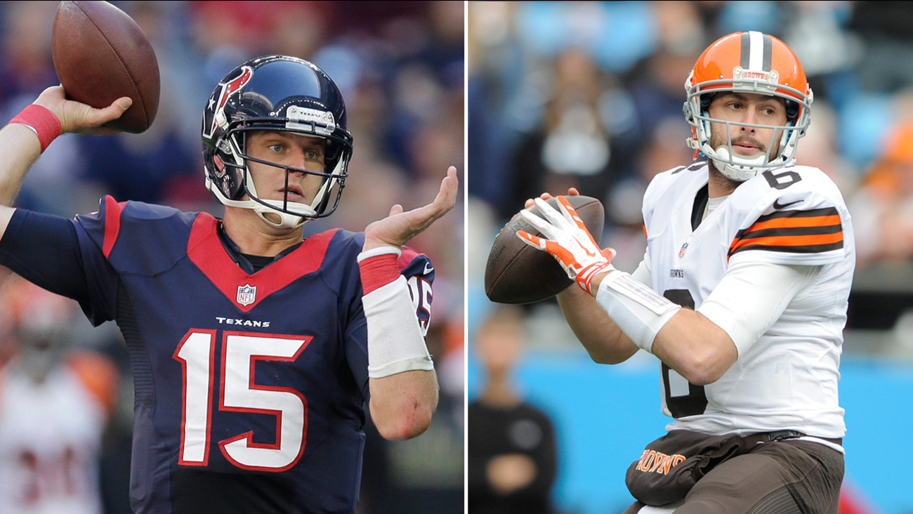 Houston Texans' Ryan Mallett (15) and Cleveland Browns' Brian Hoyer (6)