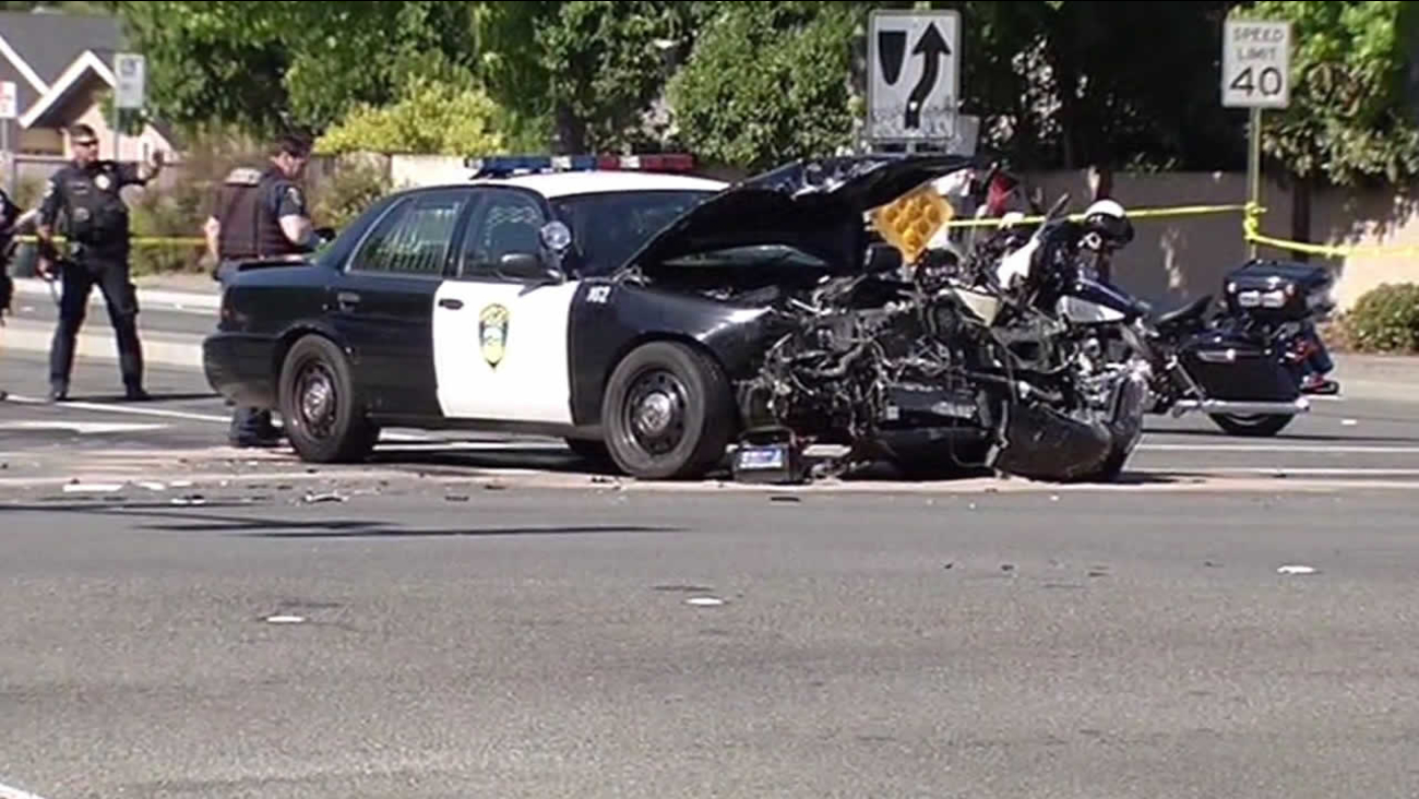 Officials investigate major collision between a police cruiser and two other vehicles in Fremont.
