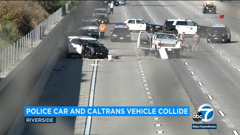 Riverside PD officer suffers injuries after crash with Caltrans truck