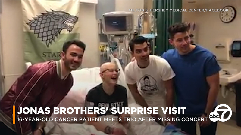 Jonas Brothers surprise teen cancer patient with hospital visit