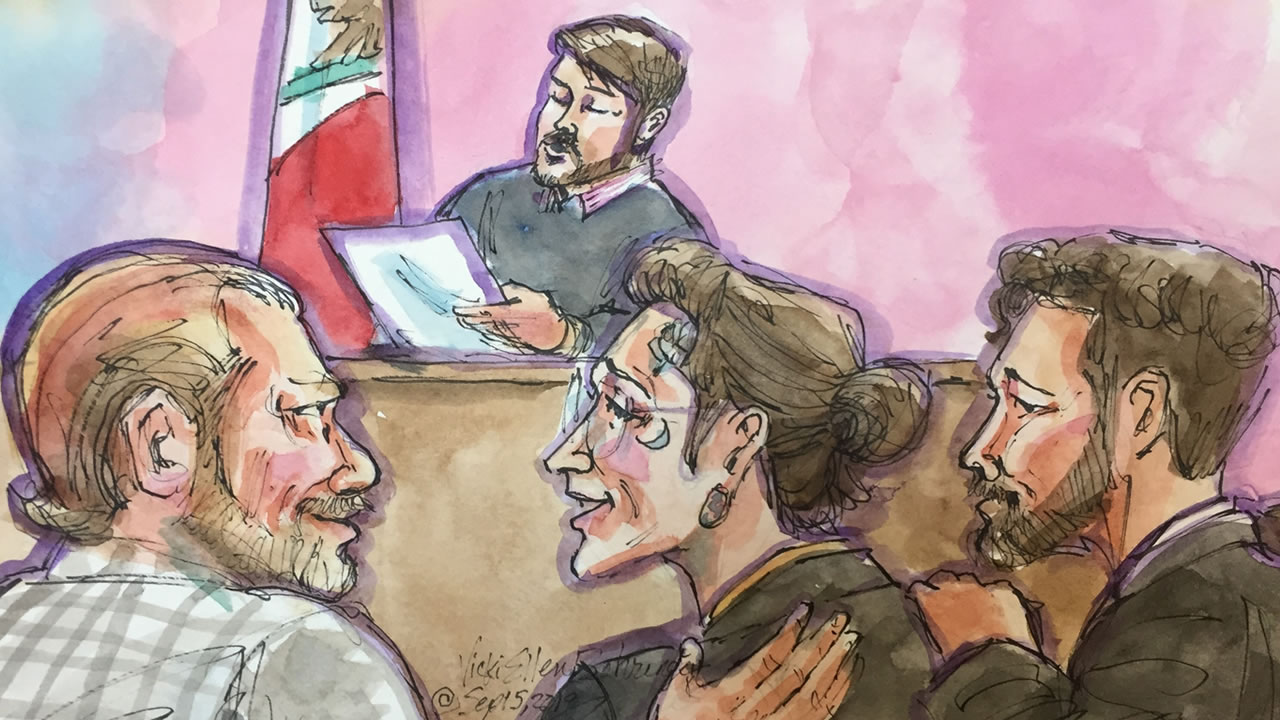 In this courtroom sketch, Max Harris is seen with his attorneys after a verdict was reached in the Ghost Ship trial in Oakland, Calif. on Thursday, Sept. 5, 2019.