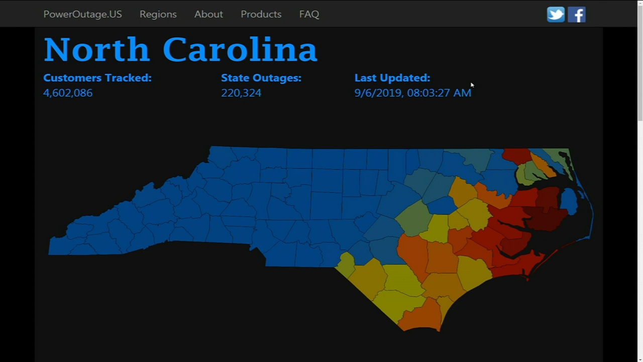 Hurricane Dorian Power Outage Map Nc Duke Energy Bemc Abc11