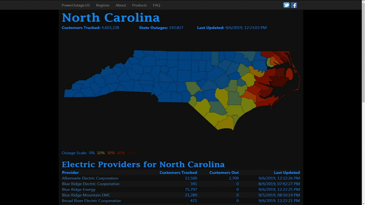 Hurricane Dorian Power Outage Map Nc Duke Energy Bemc Abc11