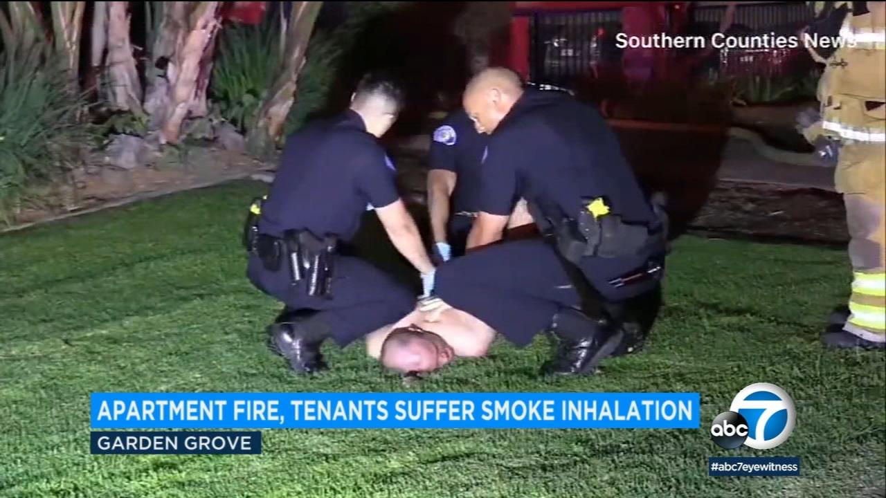 Garden Grove Apartment Fire Naked Man Taken Into Custody 3