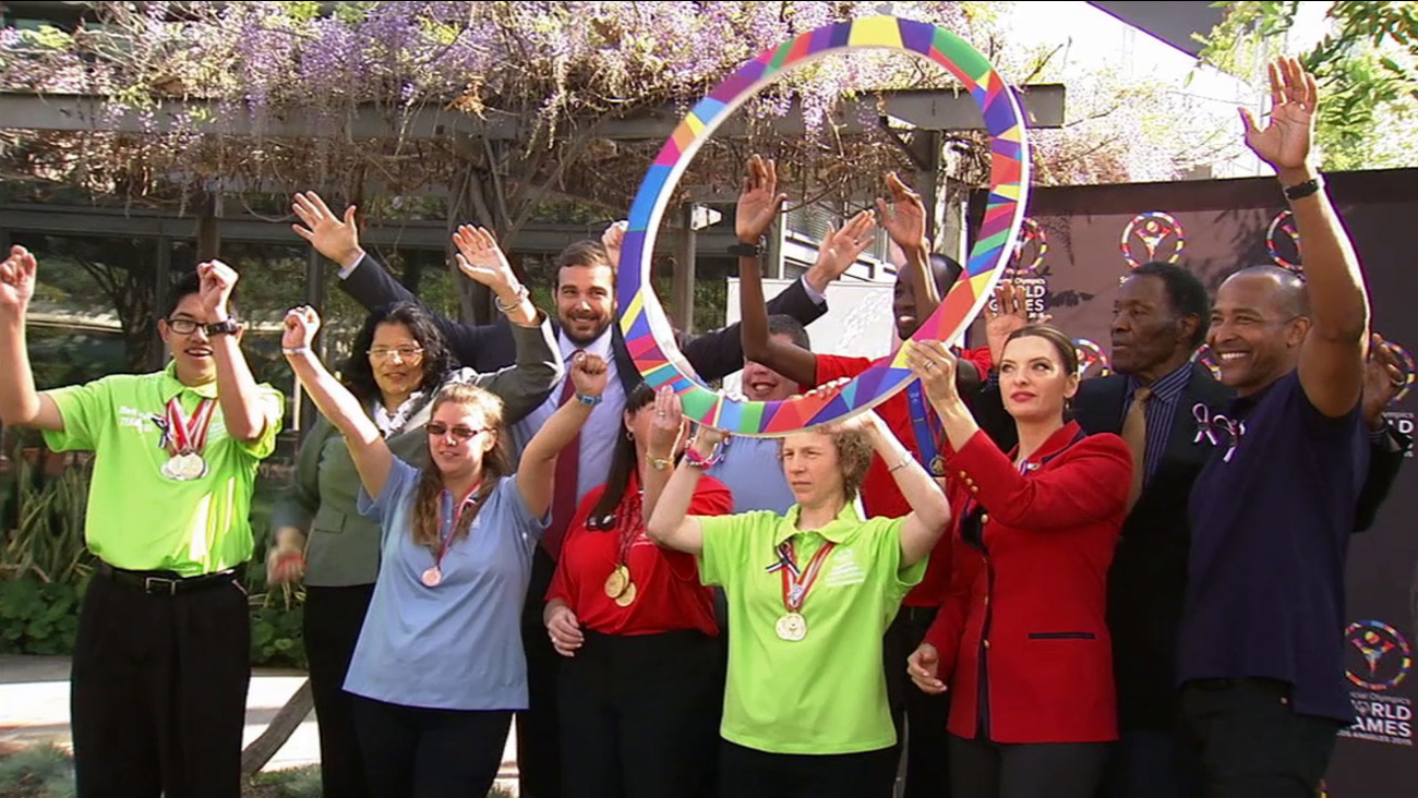 Officials celebrate LA84 Foundation's $250,000 grant to the 2015 Special Olympics World Games on Tuesday, March 10, 2015.