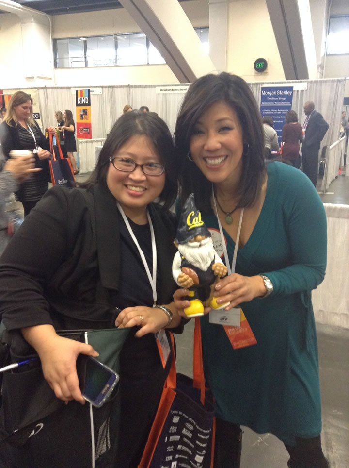 "<div class=""meta image-caption""><div class=""origin-logo origin-image kgo""><span>KGO</span></div><span class=""caption-text"">ABC7's Kristen Sze poses with the Cal Gnome and a fan at the 26th Annual Professional BusinessWomen of California Conference in San Francisco on Tuesday, March 10, 2015. (KGO)</span></div>"