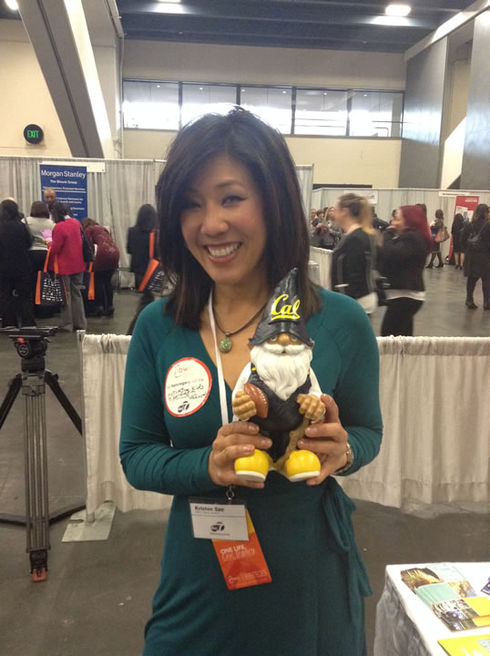 "<div class=""meta image-caption""><div class=""origin-logo origin-image kgo""><span>KGO</span></div><span class=""caption-text"">ABC7's Kristen Sze poses with the Cal Gnome at the 26th Annual Professional BusinessWomen of California Conference in San Francisco on Tuesday, March 10, 2015. (KGO)</span></div>"