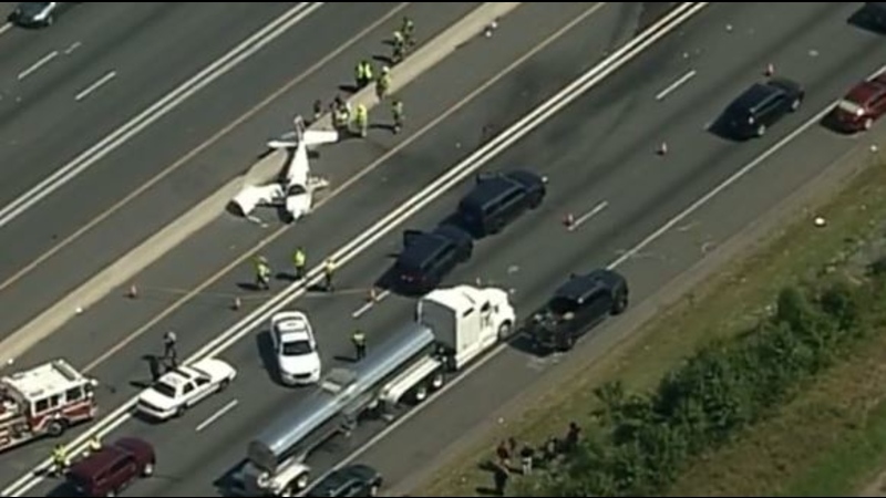 Plane crashes on highway in Bowie, Maryland