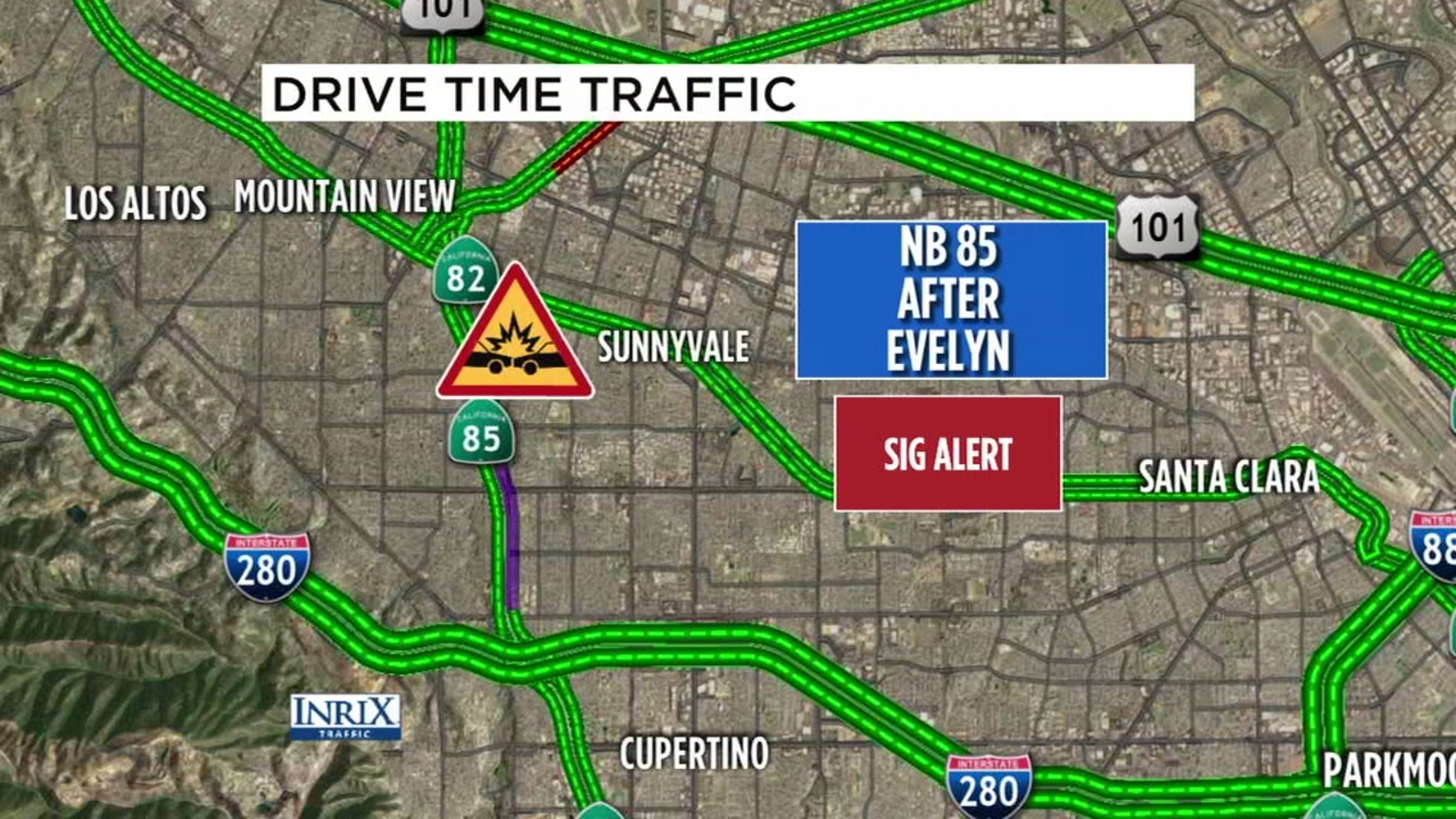 2 dead in wrong-way crash on Hwy 85 in Mountain View