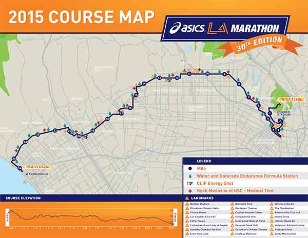 A map shows the course map for the LA Marathon on Sunday, March 15, 2015.