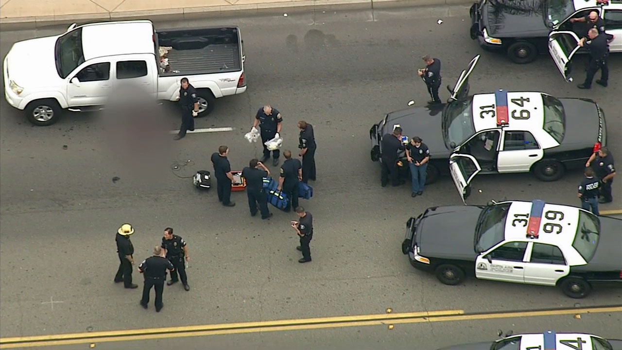 Police investigate an officer-involved shooting in Santa Ana on Wednesday, March 11, 2015.
