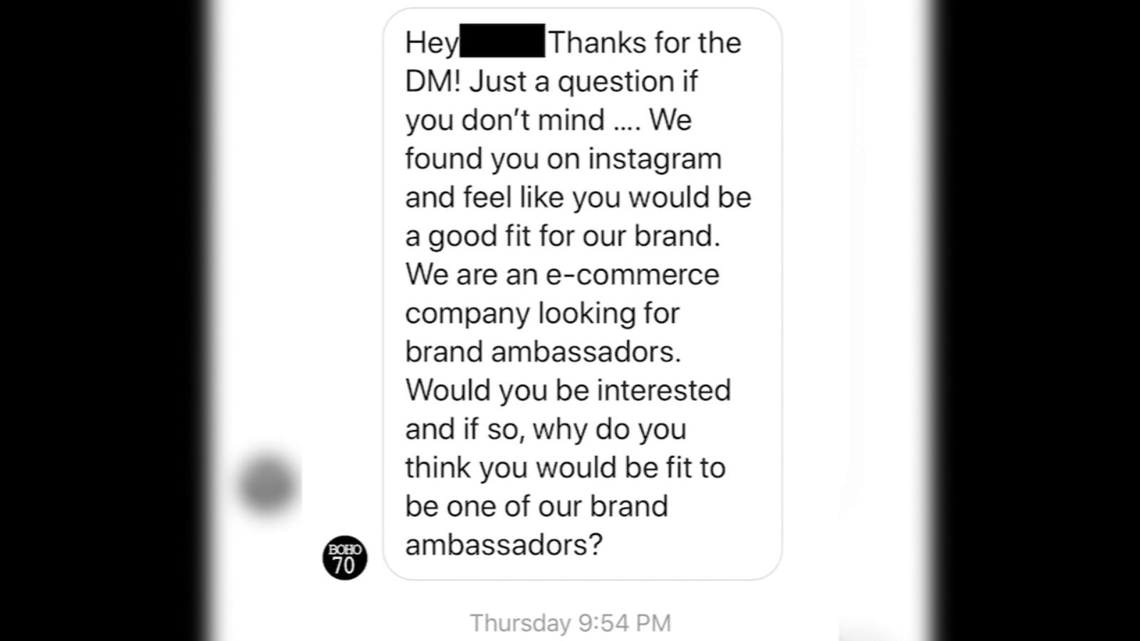 Social media users falling for fake brand ambassador offers