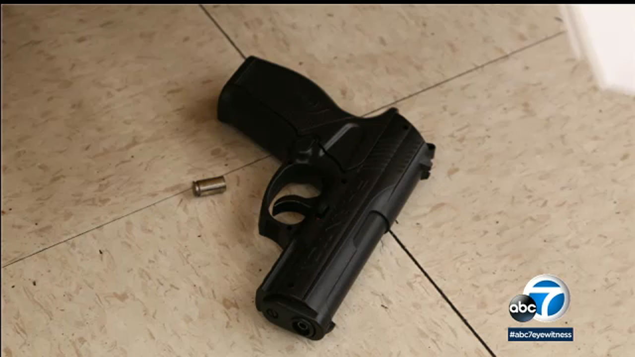 A picture shows the weapon a suspect in an officer-involved shooting was allegedly carrying when he was fatally shot by police in Long Beach.