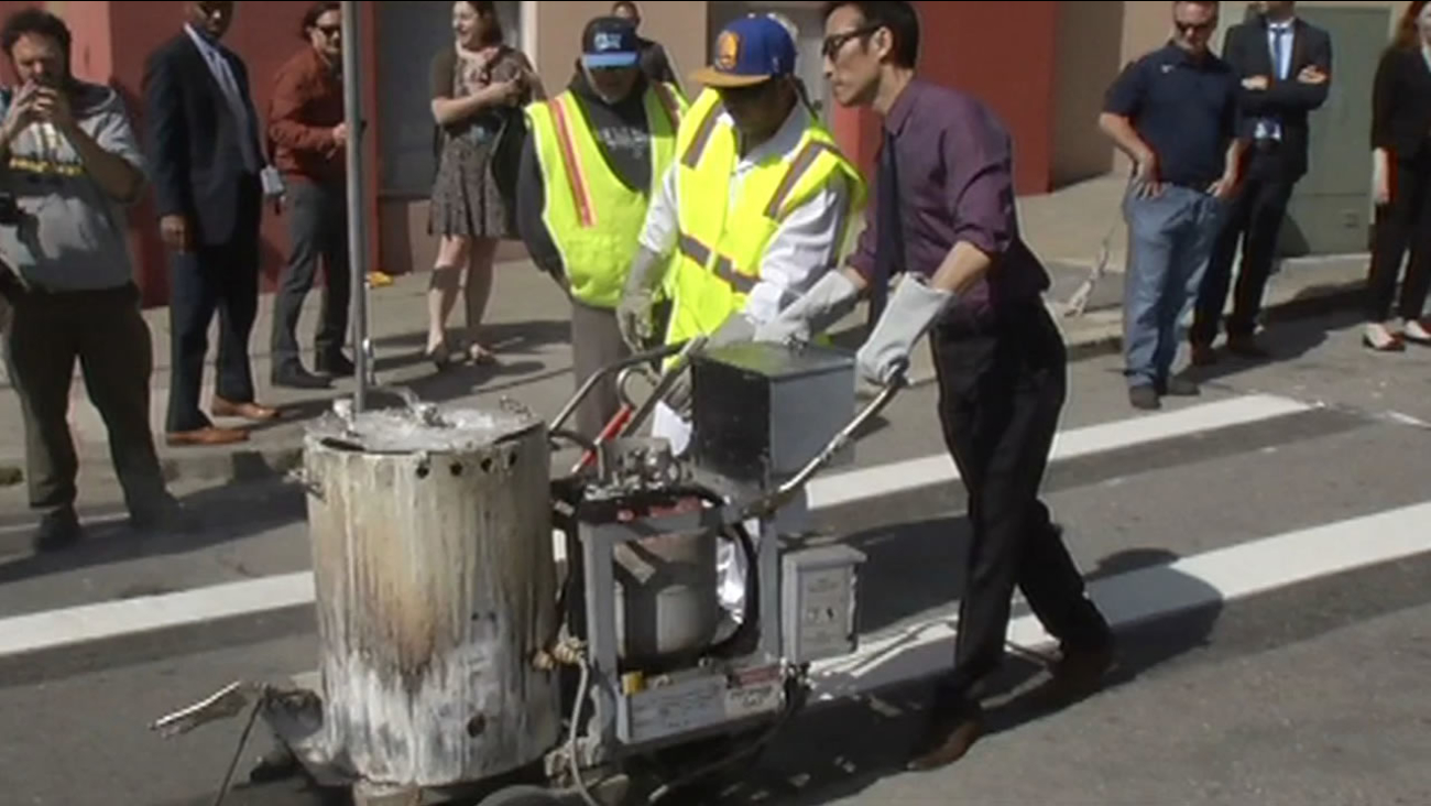 San Francisco crews repainted the crosswalk at Emerson Street and Geary Boulevard on Thursday as part of the city's campaign to eliminate traffic deaths by 2024.