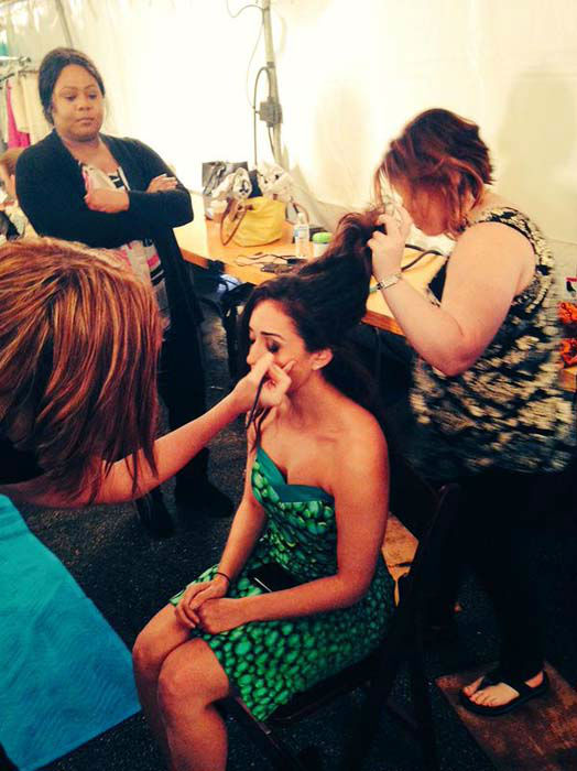 """<div class=""""meta image-caption""""><div class=""""origin-logo origin-image none""""><span>none</span></div><span class=""""caption-text"""">Sonia Azad getting her hair and makeup done before emceeing Fashion Woodlands (KTRK Photo)</span></div>"""