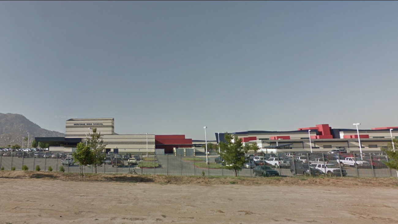 This Google Maps image shows the exterior of Heritage High School in Romoland.