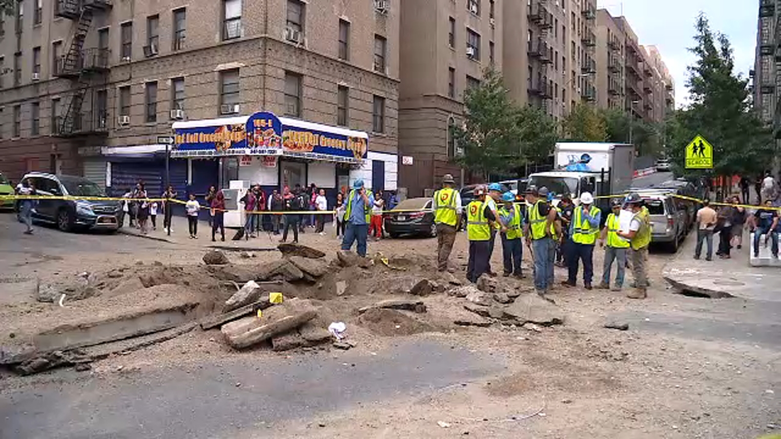 Explosion at intersection caused by gas line in Bronx