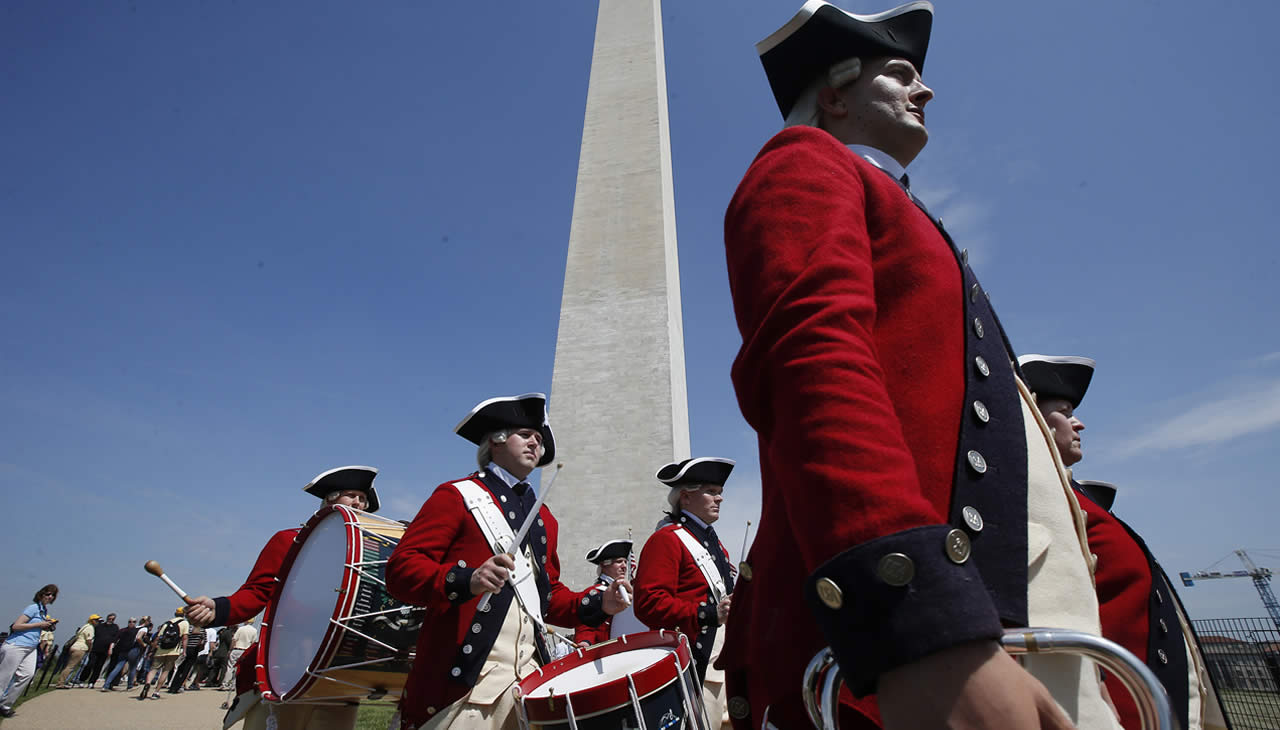 "<div class=""meta image-caption""><div class=""origin-logo origin-image ""><span></span></div><span class=""caption-text"">Members of the United States Army Old Guard Fife and Drums Corps march beneath the Washington Monument in Washington, Monday, May 12, 2014. (AP)</span></div>"