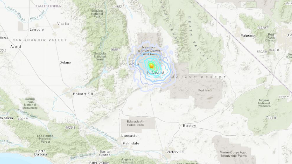 A magnitude 3.6 earthquake was recorded in the Ridgecrest area Tuesday morning, according to the U.S. Geological Survey.