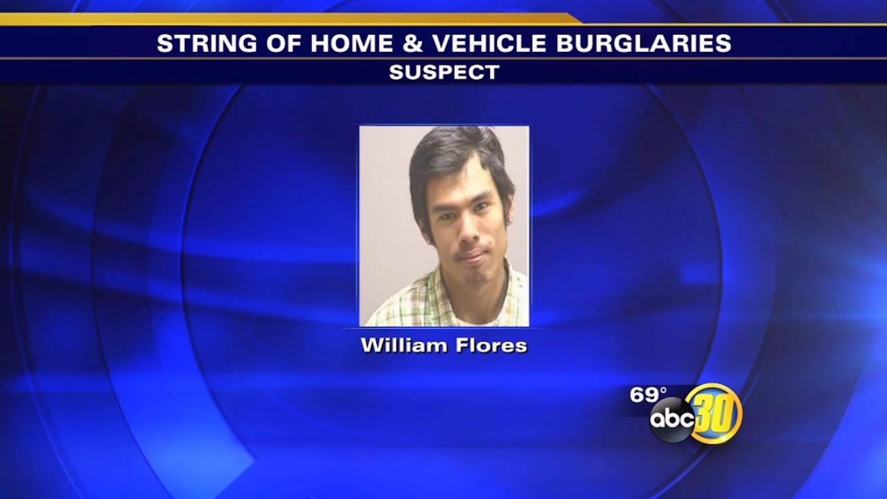 Suspect arrested in Kingsburg home, vehicle burglaries