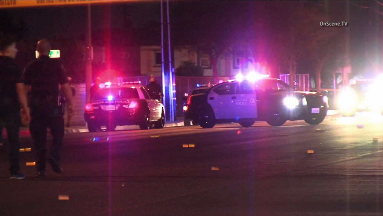 Santa Ana police investigate a car crash that killed a 2-year-old boy on Saturday, March 14, 2015.