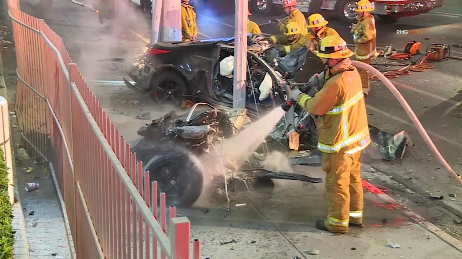 Pacoima: Violent crash leaves driver dead, car split in half