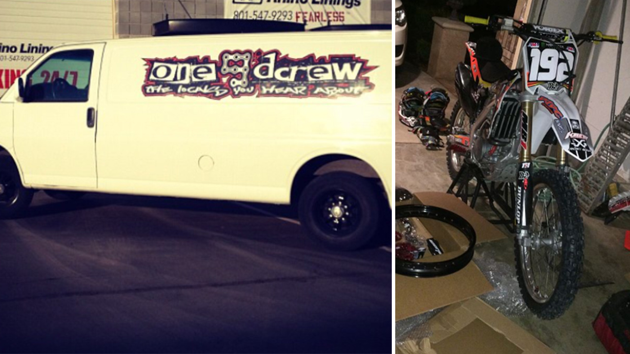 The van and a dirt bike stolen during a burglary outside a Murrieta home are show in these undated file photos.