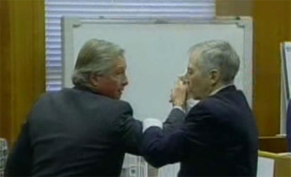 "<div class=""meta image-caption""><div class=""origin-logo origin-image none""><span>none</span></div><span class=""caption-text"">Robert Durst in the courtroom demonstrating how he defended himself with one of his attorneys during the 2003 trial.</span></div>"