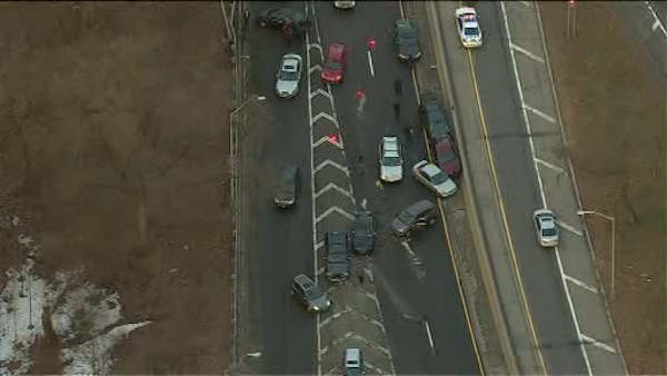 """<div class=""""meta image-caption""""><div class=""""origin-logo origin-image none""""><span>none</span></div><span class=""""caption-text"""">At least 15 vehicles were involved in a crash Monday morning that shut down a stretch of the Henry Hudson Parkway in the Bronx.</span></div>"""