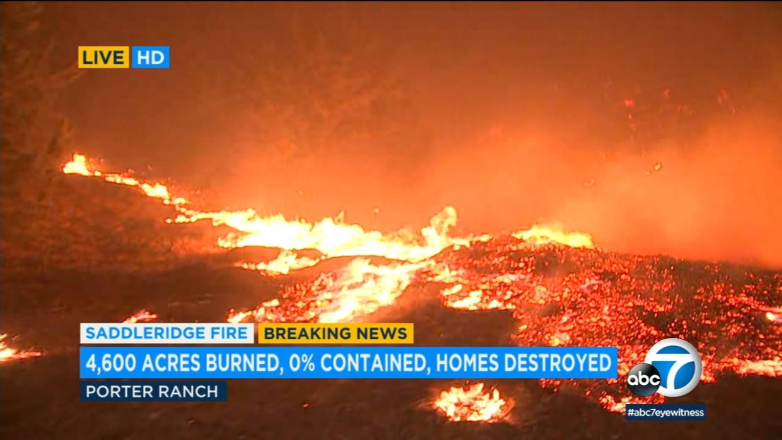 Saddleridge Fire: Hillsides near Porter Ranch parks go up in flames