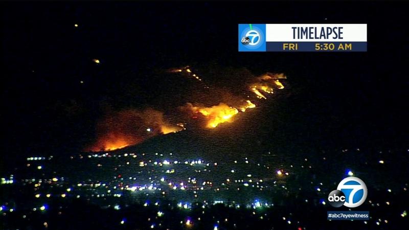California Wildfires Updates 5611004_101119-kabc-6am-saddleridge-fire-time-lapse-vid